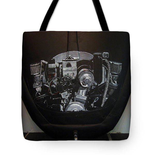 Tote Bag featuring the painting 356 Porsche Engine On A Vw Cover by Richard Le Page
