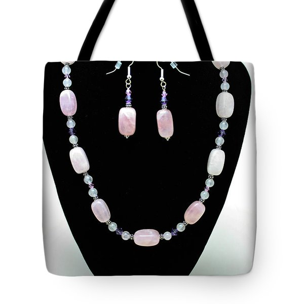 3560 Rose Quartz Necklace And Earrings Set Tote Bag by Teresa Mucha