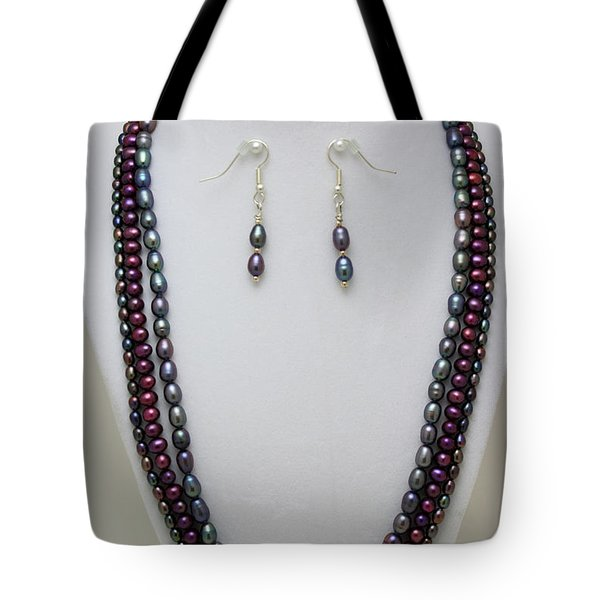 3562 Triple Strand Freshwater Pearl Necklace Set Tote Bag