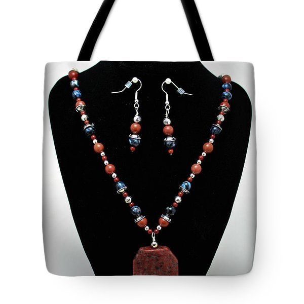 3578 Jasper And Agate Long Necklace And Earrings Set Tote Bag by Teresa Mucha