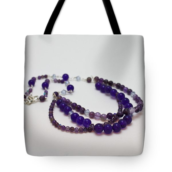3580 Amethyst And Adventurine Necklace Tote Bag by Teresa Mucha