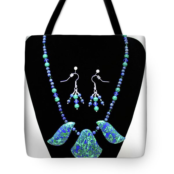 3582 Lapis Lazuli Malachite Necklace And Earring Set Tote Bag by Teresa Mucha
