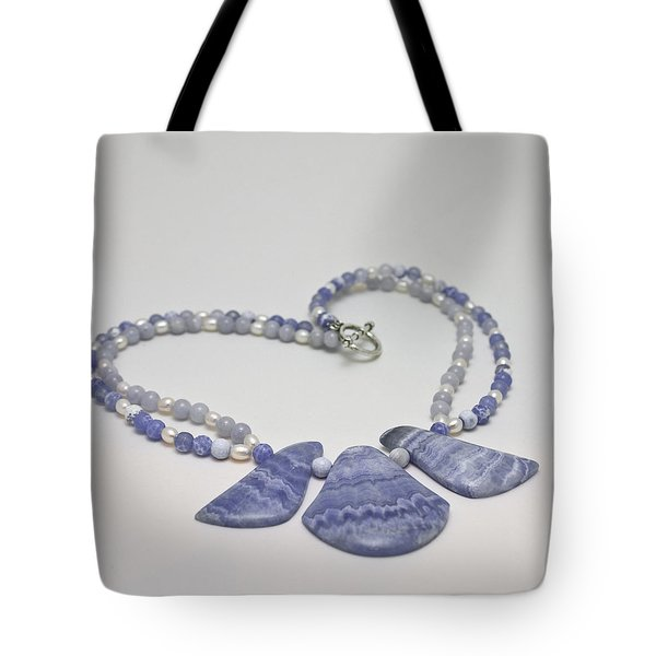 3588 Blue Banded Agate Necklace Tote Bag