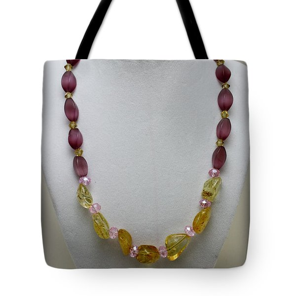 3603 Citrine And Amethyst Cats Eye Necklace Tote Bag by Teresa Mucha