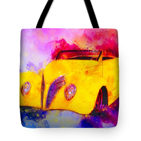 37 Ford Roadster Yellow Watercolour Tote Bag