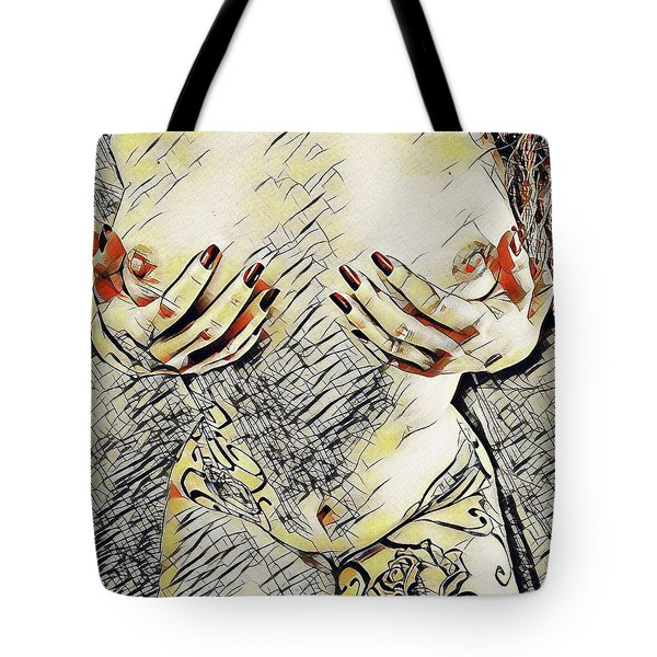 3787s-drl Cupping Her Breasts Erotica In The Style Of Kandinsky Tote Bag