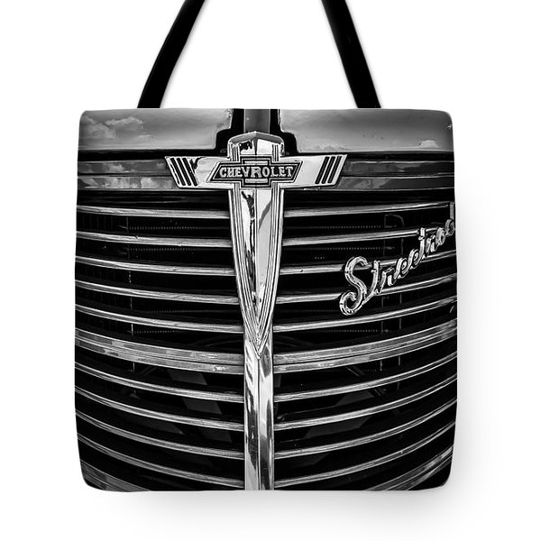 Tote Bag featuring the photograph 38 Chevy Truck Grill by Bitter Buffalo Photography