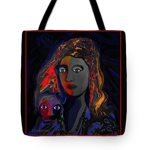 Tote Bag featuring the digital art 381- Child Keep Your Mouth Shut 2017 by Irmgard Schoendorf Welch