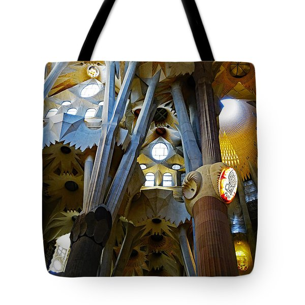 Artistic Achitecture Within The Sagrada Familia In Barcelona Tote Bag by Richard Rosenshein