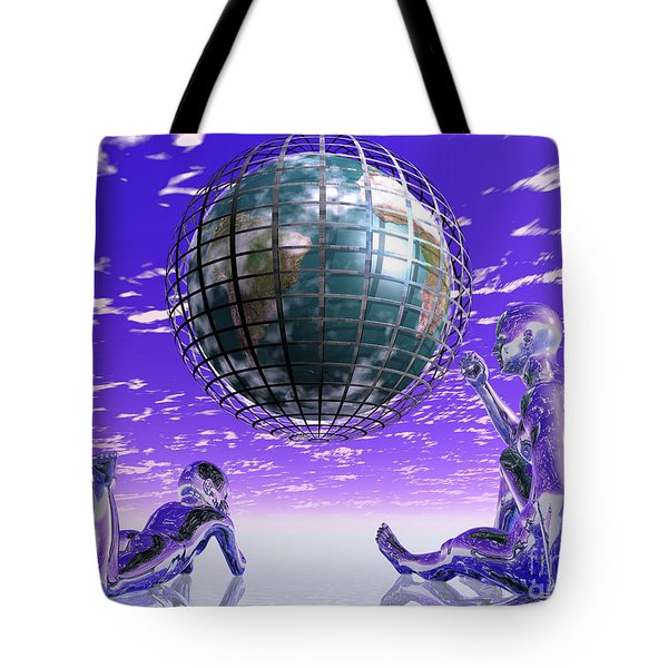 3d Aliens With Caged Earth Tote Bag