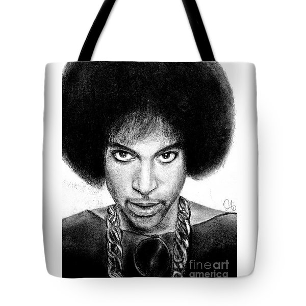Tote Bag featuring the drawing 3rd Eye Girl - Prince Charcoal Portrait Drawing - Ai P Nilson by Ai P Nilson