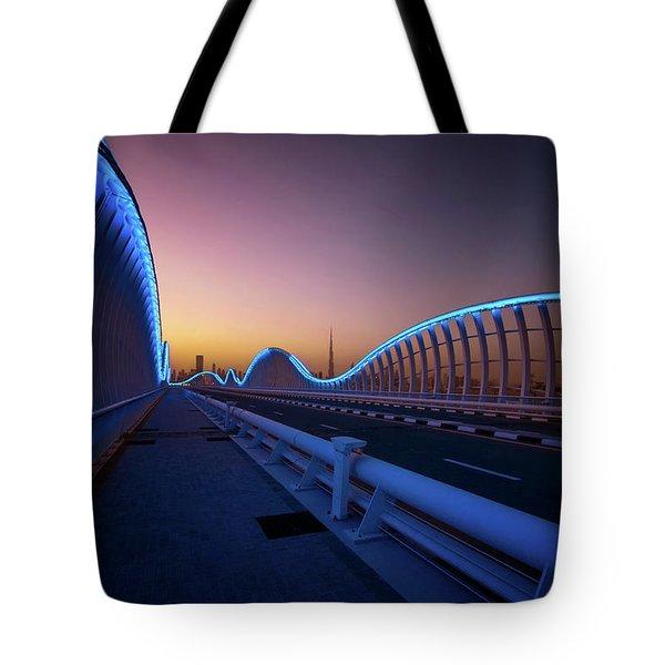 Amazing Night Dubai Vip Bridge With Beautiful Sunset. Private Ro Tote Bag