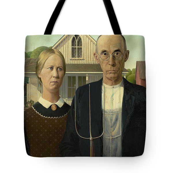 American Gothic Tote Bag by Grant Wood