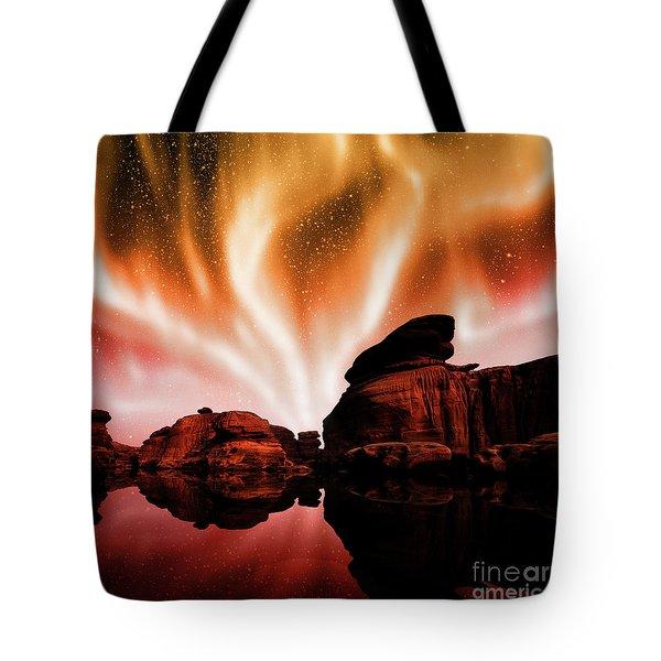 Aurora Over Lagoon Tote Bag