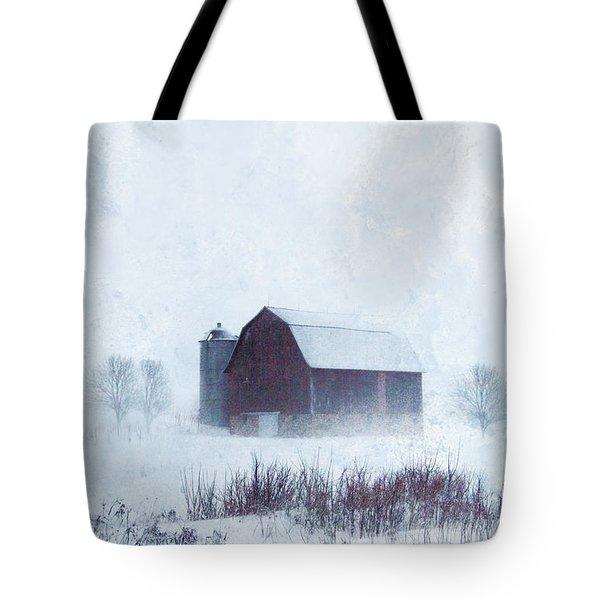 Barn In Winter Tote Bag by Jill Battaglia