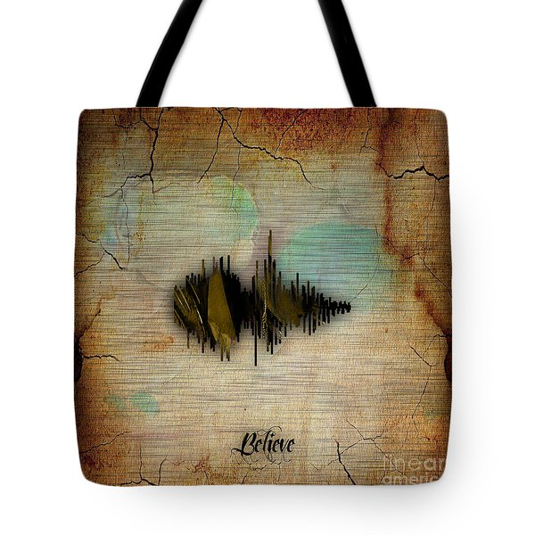 Believe Recorded Soundwave Collection Tote Bag by Marvin Blaine
