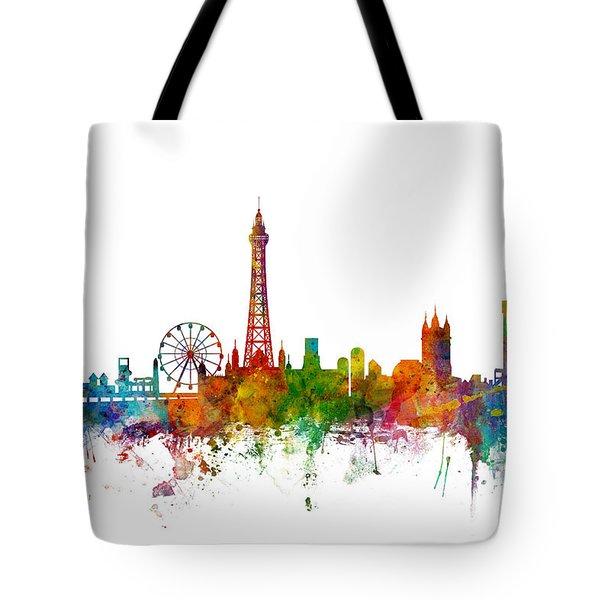 Blackpool England Skyline Tote Bag