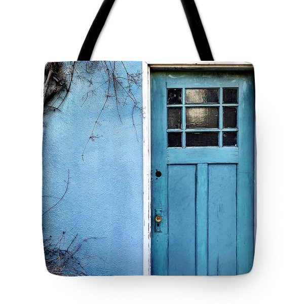 Blue Door Tote Bag by Julie Gebhardt