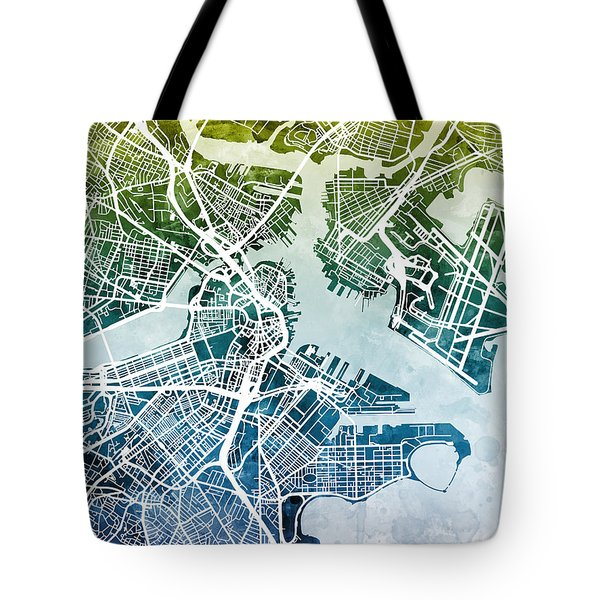 Boston Massachusetts Street Map Tote Bag by Michael Tompsett