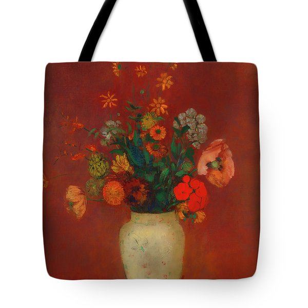 Tote Bag featuring the painting Bouquet In A Chinese Vase by Odilon Redon