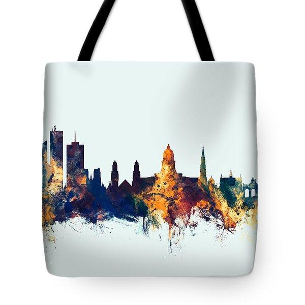 Tote Bag featuring the digital art Brussels Belgium Skyline by Michael Tompsett
