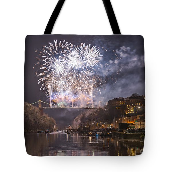 Tote Bag featuring the photograph Clifton Suspension Bridge Fireworks by Colin Rayner