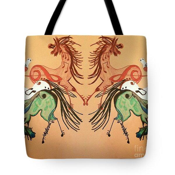 Dancing Musical Horses Tote Bag