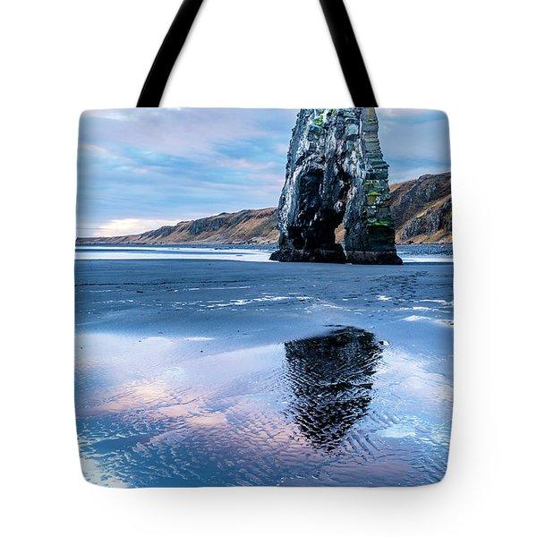 Dinosaur Rock Beach In Iceland Tote Bag by Joe Belanger