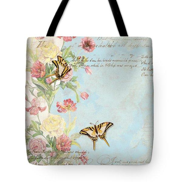 Fleurs De Pivoine - Watercolor W Butterflies In A French Vintage Wallpaper Style Tote Bag