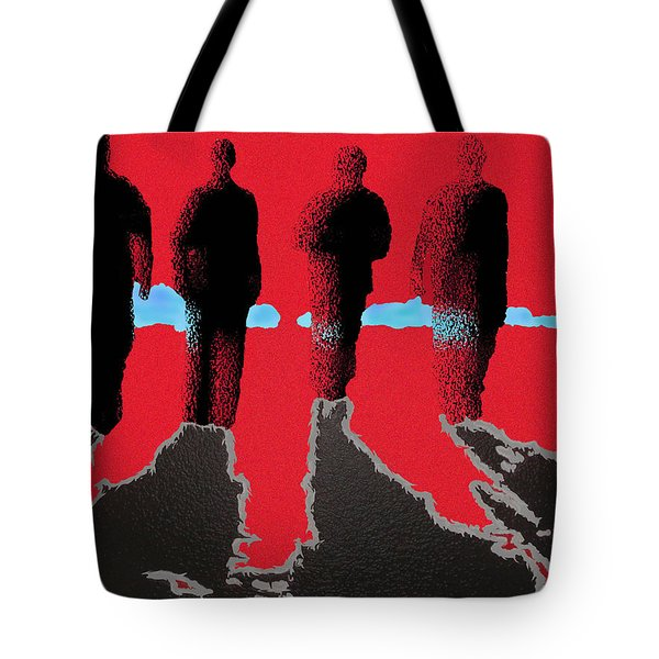 Tote Bag featuring the drawing 4 Friends Walking Into The Sun by Robert Margetts