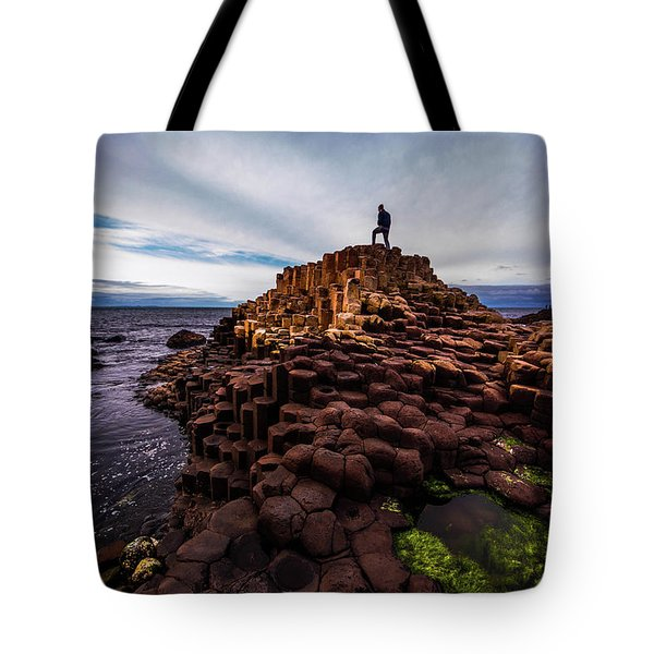 Man Atop Giant's Causeway Tote Bag
