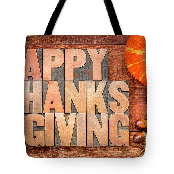Happy Thanksgiving Greeting Card Tote Bag