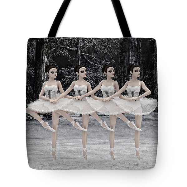 Tote Bag featuring the digital art 4 Little Swans by Methune Hively