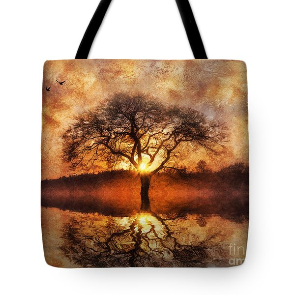 Tote Bag featuring the digital art Lone Tree by Ian Mitchell