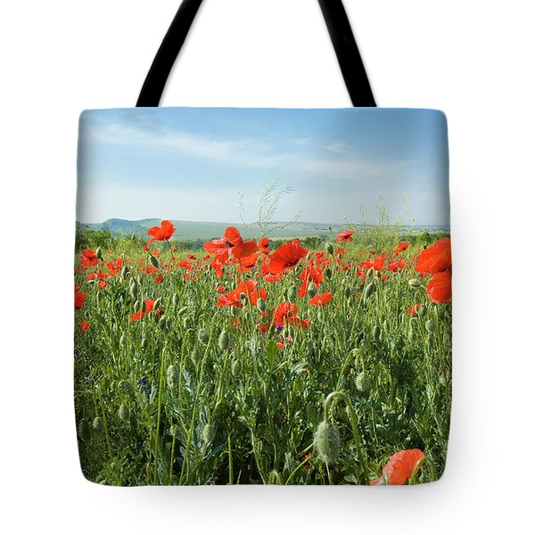 Meadow With Red Poppies Tote Bag