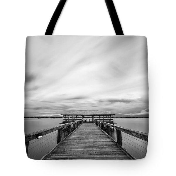 Melbourne Beach Pier Sunset Tote Bag