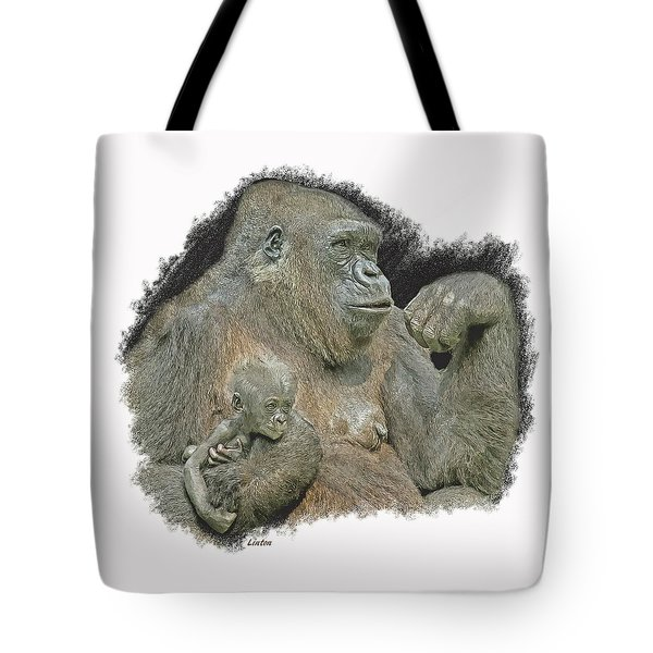 Tote Bag featuring the digital art Motherhood  by Larry Linton