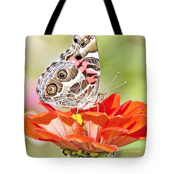 Painted Lady Butterfly On Zinnia Flower Tote Bag