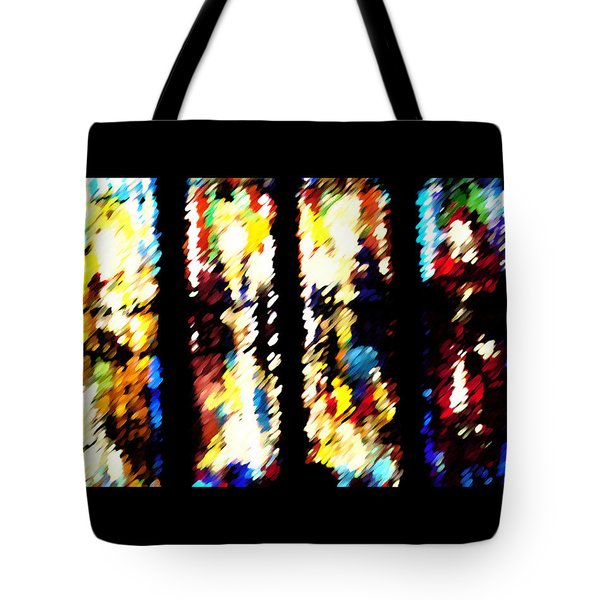 Tote Bag featuring the digital art 4 Panels Of Seville Abstract by Donna Corless