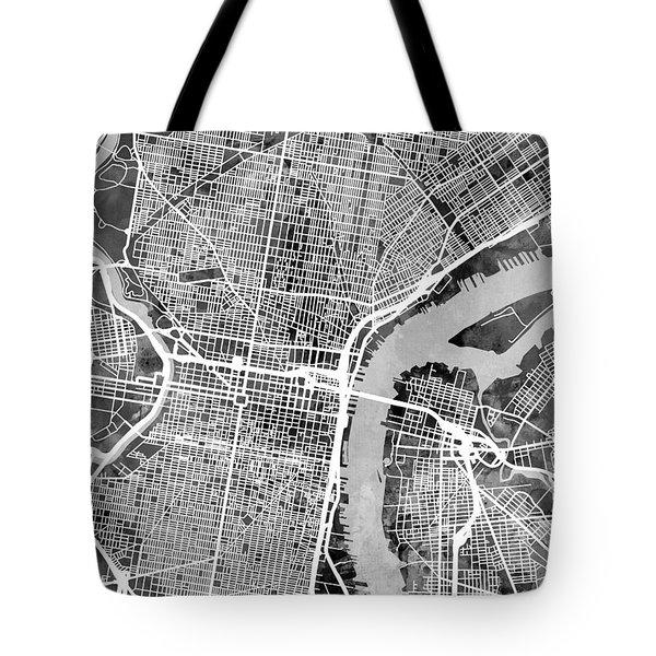 Philadelphia Pennsylvania Street Map Tote Bag by Michael Tompsett