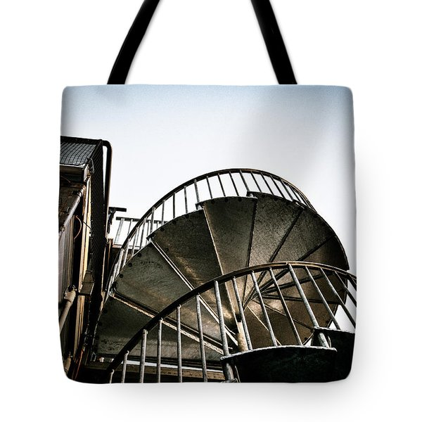 Tote Bag featuring the photograph Pop Brixton - Spiral Staircase - Industrial Style by Lenny Carter