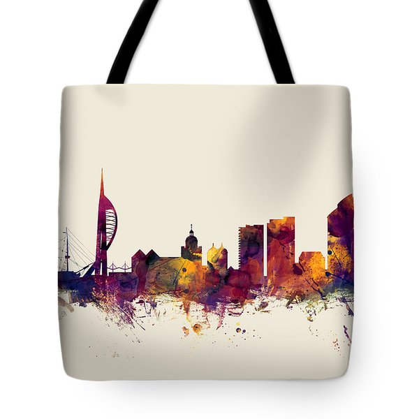 Portsmouth England Skyline Tote Bag