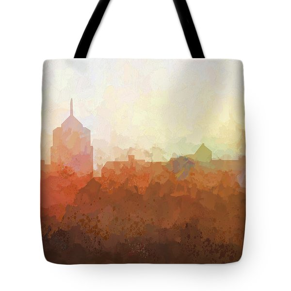 Tote Bag featuring the digital art Roanoke Virginia Skyline by Marlene Watson
