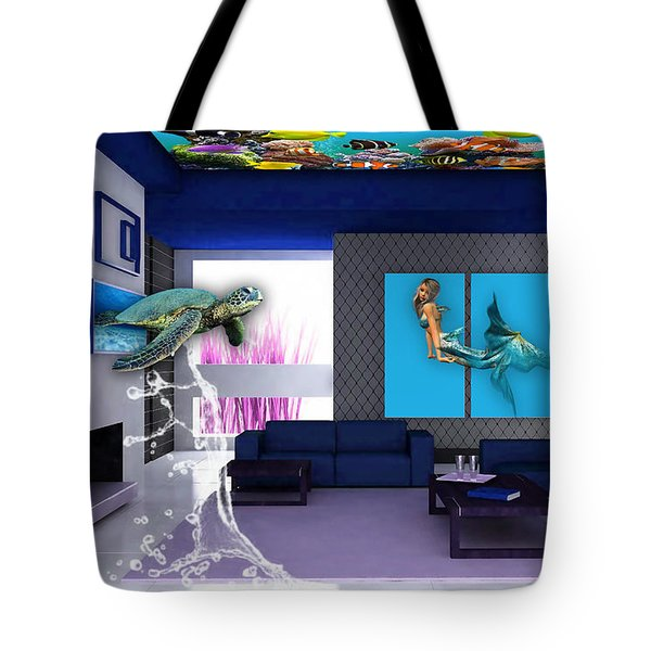Rooftop Saltwater Fish Tank Art Tote Bag by Marvin Blaine