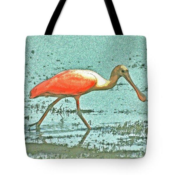Tote Bag featuring the digital art 4- Roseate Spoonbill by Joseph Keane