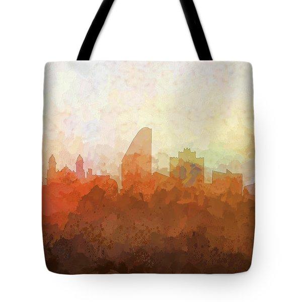 Tote Bag featuring the digital art San Jose California Skyline by Marlene Watson