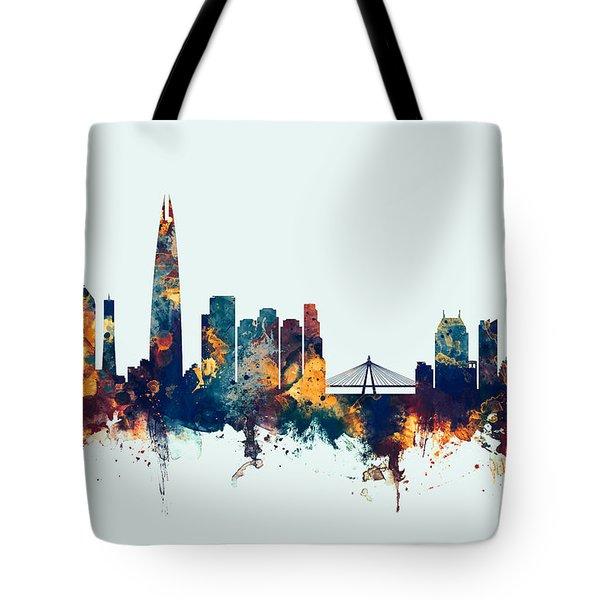 Tote Bag featuring the digital art Seoul Skyline South Korea by Michael Tompsett