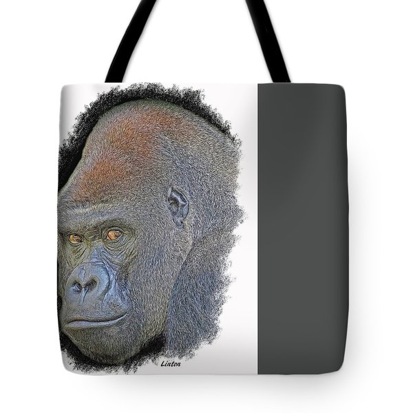 Tote Bag featuring the digital art Silverback by Larry Linton