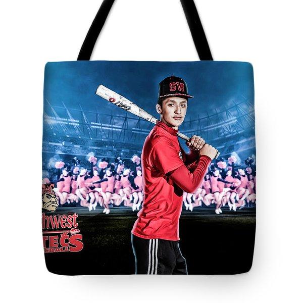Tote Bag featuring the digital art Southwest Aztecs Baseball Organization by Nicholas Grunas