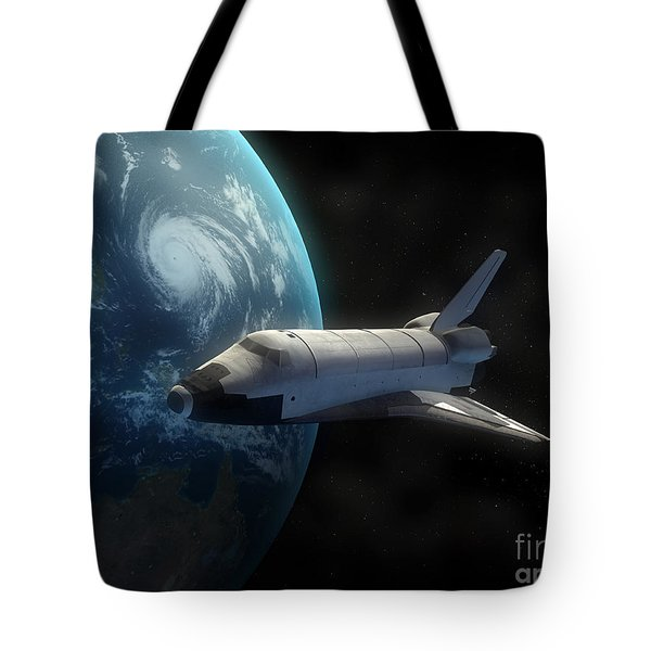 Space Shuttle Backdropped Against Earth Tote Bag by Carbon Lotus